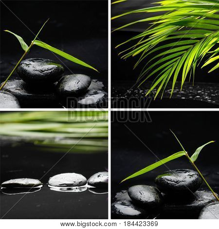 spa concept zen basalt stones with bamboo leaf ,palm