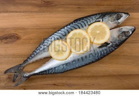 Pair Of Fresh Mackerel With Slices Of Lemon On Wooden Board Surface. Top View, Close Up.