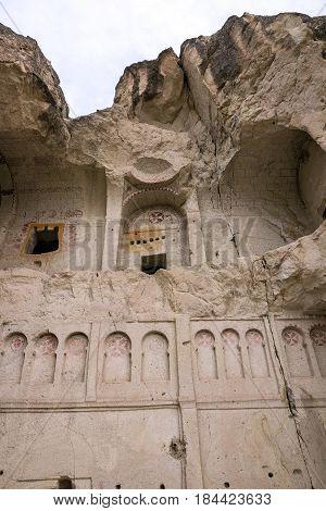 Ruins of ancient cave church in Goreme, Cappadocia, Turkey