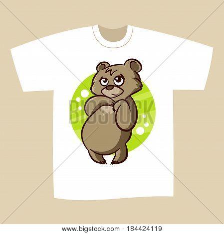 T-shirt white Print Design Bear Vector Illustration