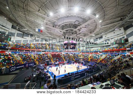 MOSCOW - JAN 27, 2017: Teans prepare for basketball game CSKA (Moscow) - Anadolu Efes (Istanbul) in Megasport stadium
