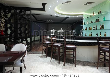 YEREVAN, ARMENIA - JAN 6, 2017: Bar in restaurant in Hotel National, created in business style, comfortable hotel allows every guest to feel welcome