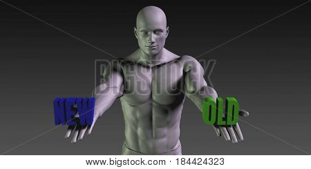 New or Old as a Versus Choice of Different Belief 3D Illustration Render