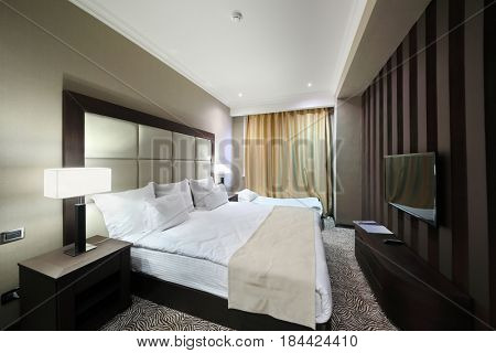 YEREVAN, ARMENIA - JAN 4, 2017: Bedroom in Hotel National, Created in a business style, the comfortable hotel allows every guest to feel welcome