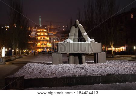 YEREVAN, ARMENIA - JAN 4, 2017: Architectural complex Cascade with waterfall and monument to architect Tamanyan