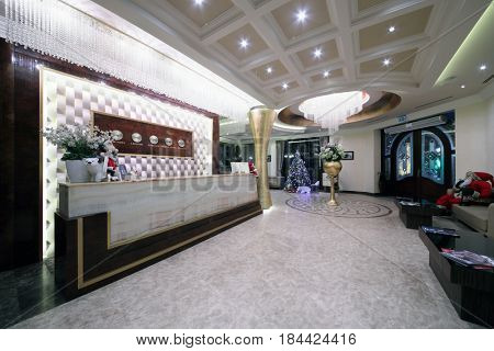 YEREVAN, ARMENIA - JAN 6, 2017: Reception with clocks in Hotel National, it is modern hotel, member of Luxury Group