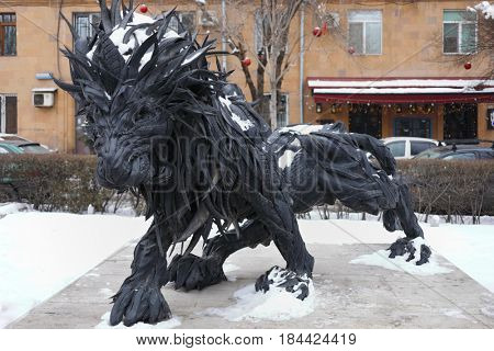 YEREVAN, ARMENIA - JAN 5, 2017: Sculpture of Lion of tires in Cafesjian Arts Center near architectural complex Cascade