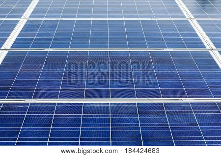 Close up of solar panels modules .
