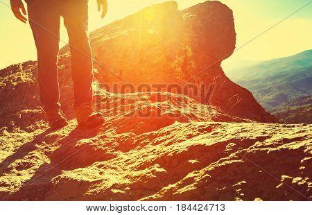 Man Walking On The Mountains