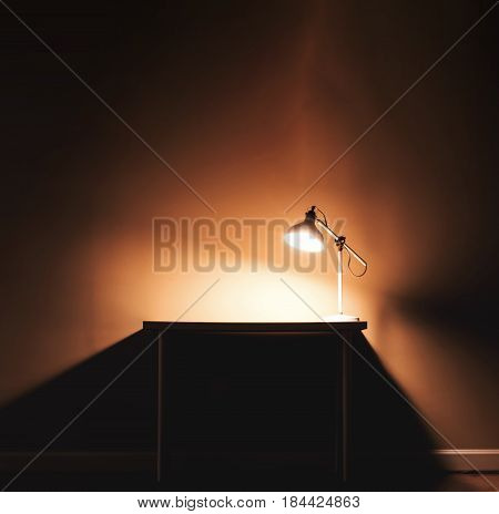 Workstation Desk In The Dark