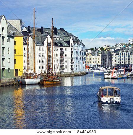 Alesund, Norway - May 3, 2017: Sea view on Alesund harbor, Norway.