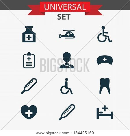 Medicine Icons Set. Collection Of Healer, Handicapped, Dental Elements. Also Includes Symbols Such As Ache, Heal, Medic.