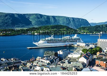 Alesund, Norway - May 3, 2017: Cruise ship Vision of the Seas in Alesund, Norway