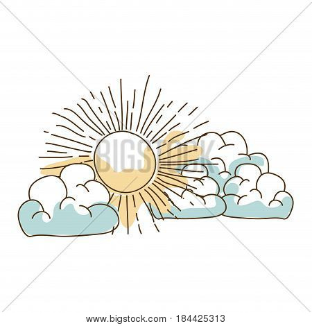 watercolor silhouette hand drawn with cumulus clouds and sun vector illustration