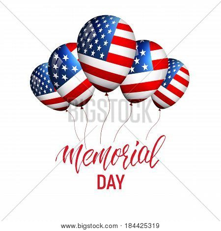 Memorial Day. Banner with balloons of USA flag and calligraphy Memorial Day