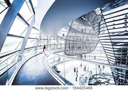 Berlin - July 19: Interior View Of Famous Reichstag Dome On July 19, 2015 In Berlin, Germany. Constr