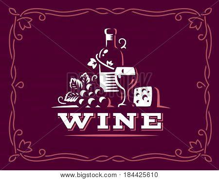 Bottle of wine and grapes logo - vector illustration, emblem design on maroon color background