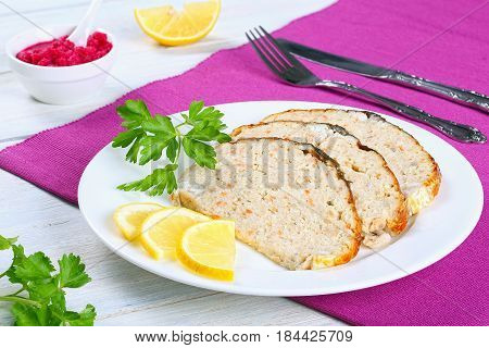 Delicious Stuffed Carp On White Plate