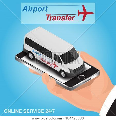 Isometric mobile app online airport transfer order concept
