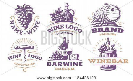 Wine set logo - vector illustrations, emblems design