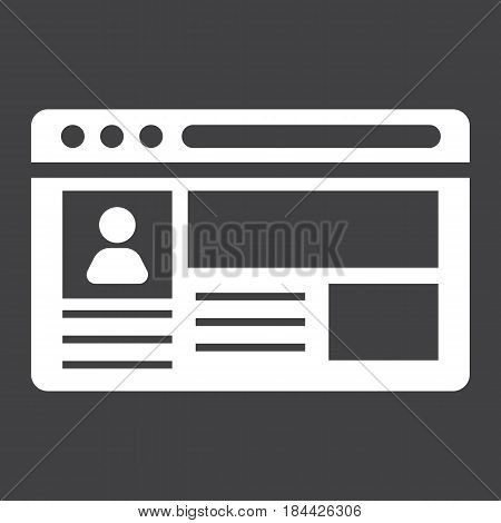 Account solid icon, social media and website button, vector graphics, a filled pattern on a black background, eps 10.