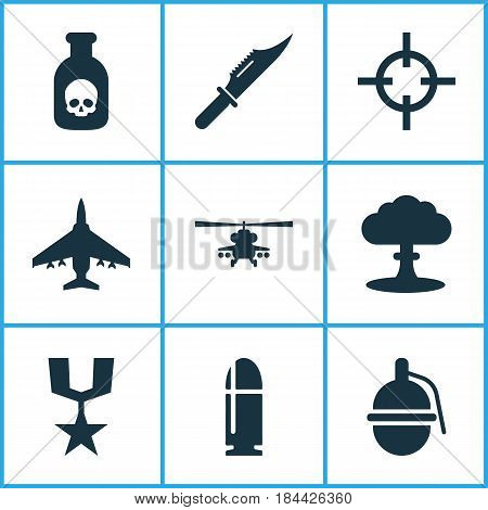 Battle Icons Set. Collection Of Target, Slug, Bombshell And Other Elements. Also Includes Symbols Such As Order, Atom, Scalper.