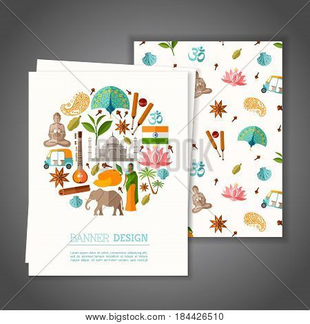 Cards with national symbols of India. Greeting or Invitation vector card on indian theme. Branding Design. Banner.
