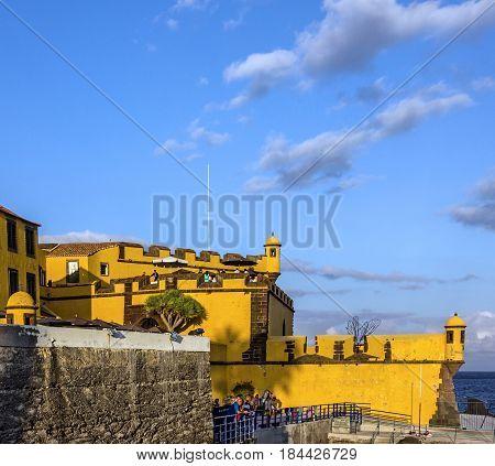 Madeira, Portugal - May 1, 2017: Funchal old castle Fortaleza de Sao Tiago.