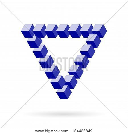 Impossible Triangle Of Blue Cube Blocks Over White. Isometric Mathematical 3d design. Optical illusion for your projects.