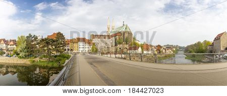 Panorama shot, view onto the Peterskirche church in the town of Goerlitz, Germany