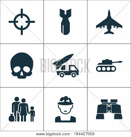 Army Icons Set. Collection Of Military, Panzer, Cranium And Other Elements. Also Includes Symbols Such As Oficer, Rockets, Military.