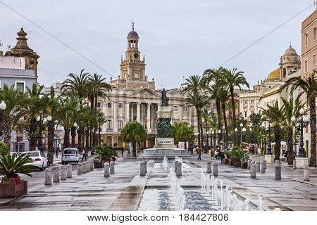 Cadiz, Spain - April 4, 2017: Cadiz square Andalusia. Historical building
