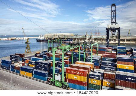 Casablanca, Morocco - May 6, 2017: Container terminal in Casablanca sea port, Morocco