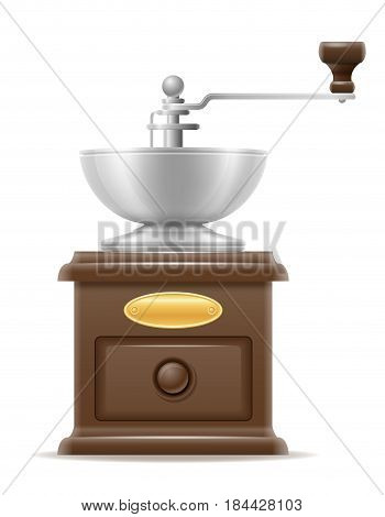 сoffee mill old retro vintage icon stock vector illustration isolated on white background