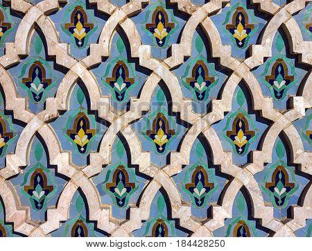 Casablanca, Morocco. Mosque Hassan II decoration element