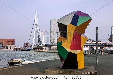 Rotterdam, Netherlands - April 5, 2017: Erasmus Bridge and harbor of Rotterdam