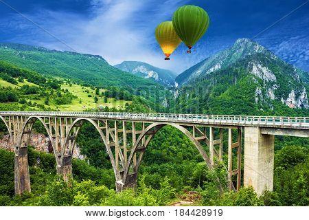 Mountain landscape, Montenegro. Durdevica Tara arc bridge in the mountains One of the highest automobile bridges in Europe.