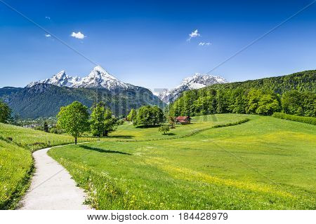 Idyllic Summer Landscape In The Alps, Nationalpark Berchtesgadener Land, Bavaria, Germany