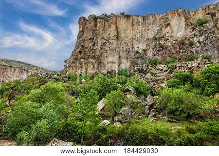 Canyon Ihlara landscape in Cappadocia, Anatolia, Turkey.