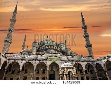 Blue mosque Sultanahmet architecture in Istanbul, Turkey