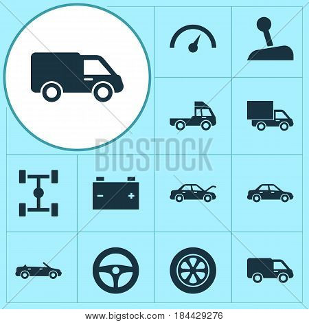 Auto Icons Set. Collection Of Drive Control, Convertible Model, Van And Other Elements. Also Includes Symbols Such As Wheel, Cabriolet, Auto.