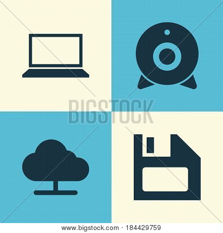 Computer Icons Set. Collection Of Diskette, Tree, Laptop And Other Elements. Also Includes Symbols Such As Camera, Diskette, Floppy.