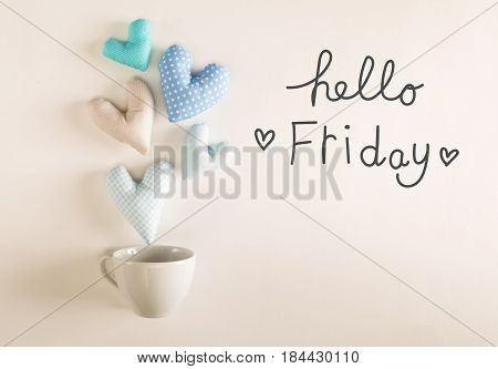 Hello Friday Message With Blue Heart Cushions