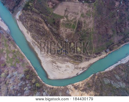 Top View On The Bend Of The River Pshekha. Russia.