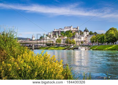 Salzburg Cityscape With Salzach River In Summer, Salzburger Land, Austria