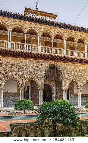 Patio de las Doncellas (Courtyard of the Maidens) in Alcazar of Seville Seville Spain