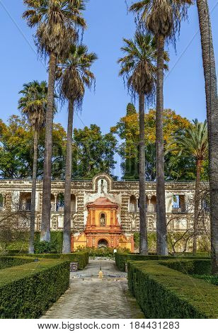 Garden and Gallery of Grutescos in Alcazar of Seville Spain