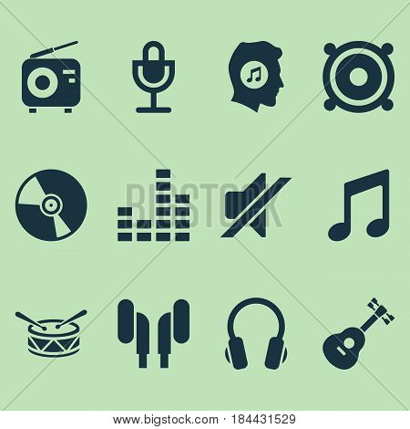 Music Icons Set. Collection Of Silence, Cd, Barrel And Other Elements. Also Includes Symbols Such As Controlling, Meloman, Speaker.