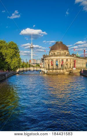 Berlin Museum Island With Tv Tower At Sunset, Berlin Mitte, Germany