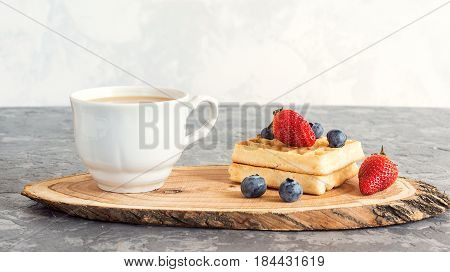 Coffee Break With Cup Of Coffee, Fresh Viennese Waffles And Fresh Berries